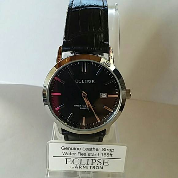e1c9e9dfcdb Men s Leather Armitron Eclipse Black Dress Watch